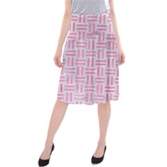 Woven1 White Marble & Pink Watercolor (r) Midi Beach Skirt