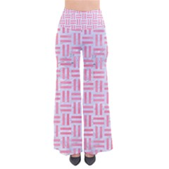 Woven1 White Marble & Pink Watercolor (r) So Vintage Palazzo Pants
