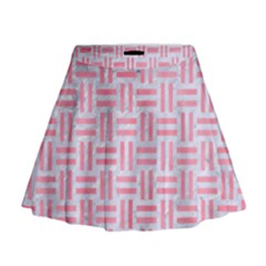 Woven1 White Marble & Pink Watercolor (r) Mini Flare Skirt