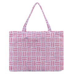 Woven1 White Marble & Pink Watercolor (r) Zipper Medium Tote Bag