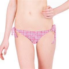 Woven1 White Marble & Pink Watercolor Bikini Bottom