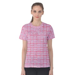 Woven1 White Marble & Pink Watercolor Women s Cotton Tee
