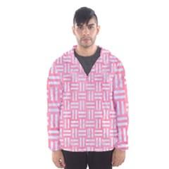 Woven1 White Marble & Pink Watercolor Hooded Windbreaker (men)
