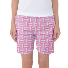 Woven1 White Marble & Pink Watercolor Women s Basketball Shorts