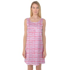 Woven1 White Marble & Pink Watercolor Sleeveless Satin Nightdress