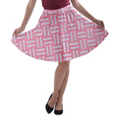 Woven1 White Marble & Pink Watercolor A Line Skater Skirt