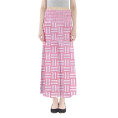 Woven1 White Marble & Pink Watercolor Full Length Maxi Skirt