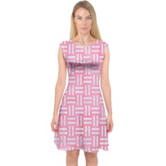 Woven1 White Marble & Pink Watercolor Capsleeve Midi Dress