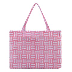 Woven1 White Marble & Pink Watercolor Medium Tote Bag