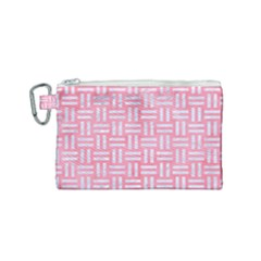 Woven1 White Marble & Pink Watercolor Canvas Cosmetic Bag (small)