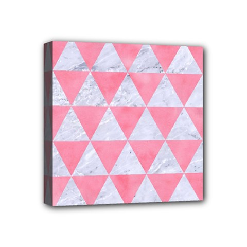 Triangle3 White Marble & Pink Watercolor Mini Canvas 4  X 4