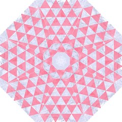 Triangle3 White Marble & Pink Watercolor Straight Umbrellas
