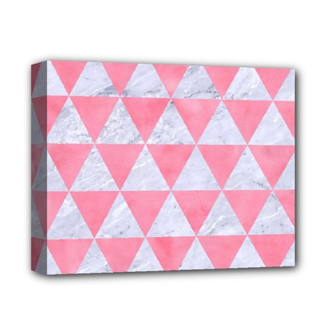 Triangle3 White Marble & Pink Watercolor Deluxe Canvas 14  X 11  by trendistuff