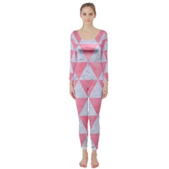Triangle3 White Marble & Pink Watercolor Long Sleeve Catsuit