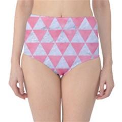 Triangle3 White Marble & Pink Watercolor Classic High Waist Bikini Bottoms