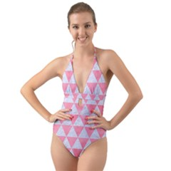 Triangle3 White Marble & Pink Watercolor Halter Cut Out One Piece Swimsuit