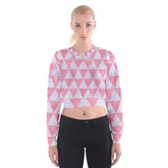 Triangle3 White Marble & Pink Watercolor Cropped Sweatshirt