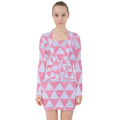 Triangle3 White Marble & Pink Watercolor V Neck Bodycon Long Sleeve Dress