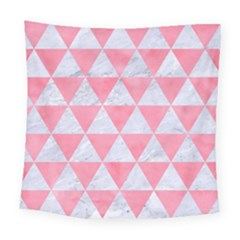 Triangle3 White Marble & Pink Watercolor Square Tapestry (large)