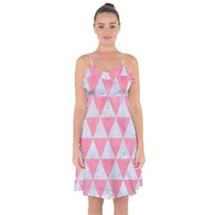 Triangle3 White Marble & Pink Watercolor Ruffle Detail Chiffon Dress