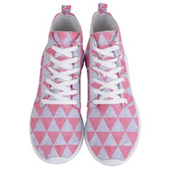Triangle3 White Marble & Pink Watercolor Men s Lightweight High Top Sneakers by trendistuff