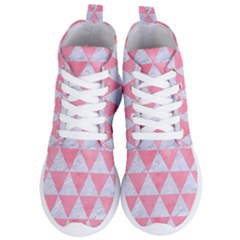 Triangle3 White Marble & Pink Watercolor Women s Lightweight High Top Sneakers