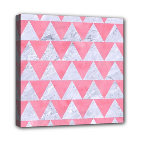 Triangle2 White Marble & Pink Watercolor Mini Canvas 8  X 8