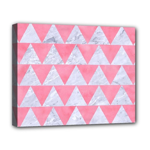 Triangle2 White Marble & Pink Watercolor Deluxe Canvas 20  X 16   by trendistuff