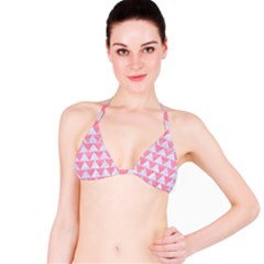Triangle2 White Marble & Pink Watercolor Bikini Top