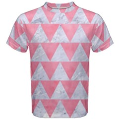 Triangle2 White Marble & Pink Watercolor Men s Cotton Tee