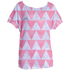 Triangle2 White Marble & Pink Watercolor Women s Oversized Tee