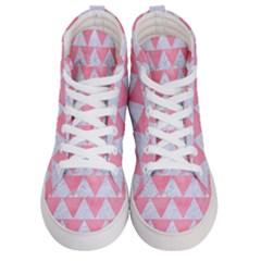 Triangle2 White Marble & Pink Watercolor Men s Hi Top Skate Sneakers