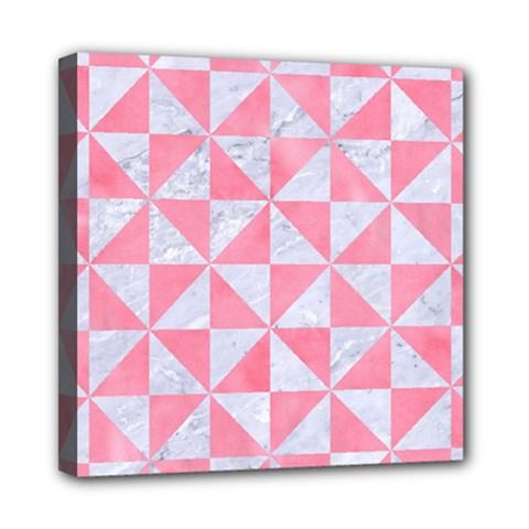 Triangle1 White Marble & Pink Watercolor Mini Canvas 8  X 8