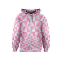Triangle1 White Marble & Pink Watercolor Kids  Zipper Hoodie