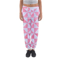 Triangle1 White Marble & Pink Watercolor Women s Jogger Sweatpants
