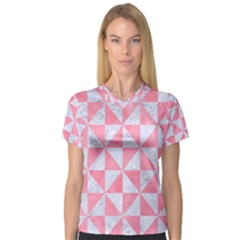 Triangle1 White Marble & Pink Watercolor V Neck Sport Mesh Tee