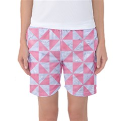 Triangle1 White Marble & Pink Watercolor Women s Basketball Shorts