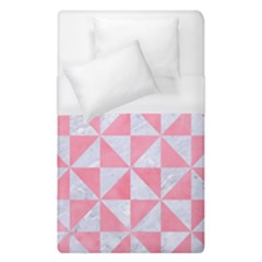 Triangle1 White Marble & Pink Watercolor Duvet Cover (single Size)
