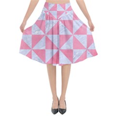 Triangle1 White Marble & Pink Watercolor Flared Midi Skirt