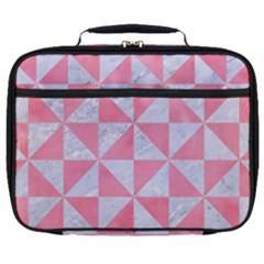 Triangle1 White Marble & Pink Watercolor Full Print Lunch Bag