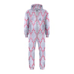 Tile1 White Marble & Pink Watercolor (r) Hooded Jumpsuit (kids)