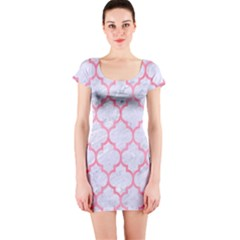Tile1 White Marble & Pink Watercolor (r) Short Sleeve Bodycon Dress