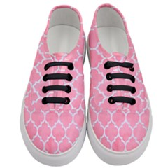 Tile1 White Marble & Pink Watercolor Women s Classic Low Top Sneakers