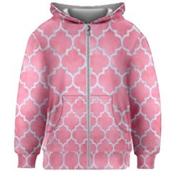 Tile1 White Marble & Pink Watercolor Kids Zipper Hoodie Without Drawstring