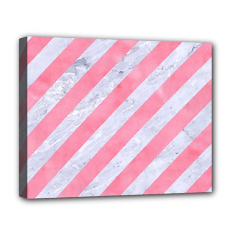 Stripes3 White Marble & Pink Watercolor (r) Deluxe Canvas 20  X 16