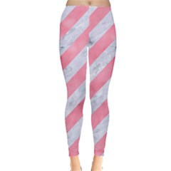 Stripes3 White Marble & Pink Watercolor (r) Leggings