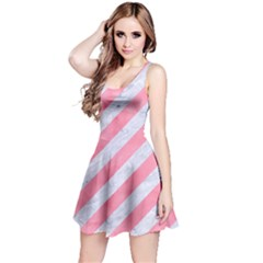 Stripes3 White Marble & Pink Watercolor (r) Reversible Sleeveless Dress
