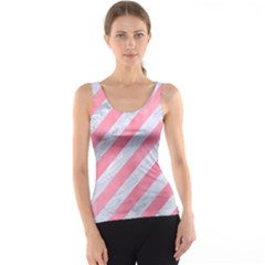 Stripes3 White Marble & Pink Watercolor (r) Tank Top
