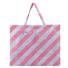 Stripes3 White Marble & Pink Watercolor (r) Zipper Large Tote Bag
