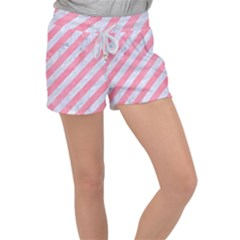 Stripes3 White Marble & Pink Watercolor (r) Women s Velour Lounge Shorts